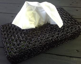 Black tissue box cover, black kleenex box cover, tissue cover, home decor, housewarming gift, christmas gift, home accessories