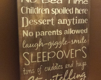 GRANDPARENT HOUSE RULES/Personalize Option Grandparent gift/Christmas Gift/Grandparent house rules sign