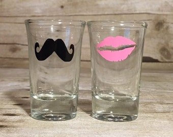 His & Hers Pair of Shot Glasses - Lips and Mustache Glasses - Set of Two
