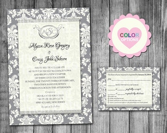 damask wedding invitation color options damask invitation 5x7 bridal damask wedding - Damask Wedding Invitations