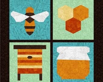Honey Bee - 4 Quilt Block Patterns - Foundation Paper Piece Patch - PDF Download