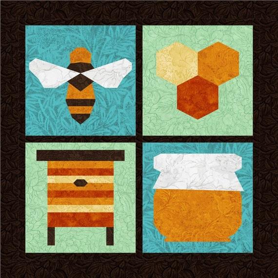Honey Bee 4 Quilt Block Patterns Foundation Paper Piece