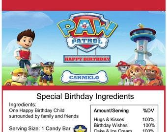 Paw Patrol birthday Candy Bar Wrapper