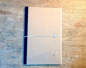 Handmade Wrapped Kraft Cahier Journal - Hand Stitched Recycled Paper Notebook with Cotton Spine