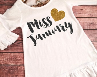 Miss January Birthday Girl Dress Gold Sparkle Birthday Shirt Baby Girl Birthday Dress Girl  Birthday Outfit, Choose your month