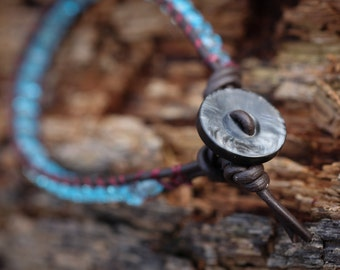 Blue Crystal, Leather Wrap Bracelet