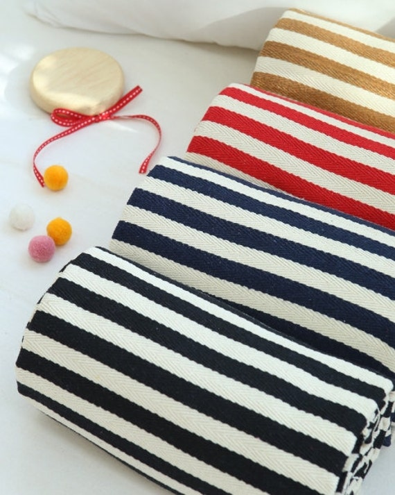 high canvas cotton fabric by the yard stripe black navy red brown 59 sam 145538 from. Black Bedroom Furniture Sets. Home Design Ideas