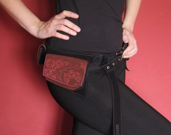 Burning man festival utility belt - Women leather belt bag - leather pocket belt - OOAK. FREE SHIPPNG