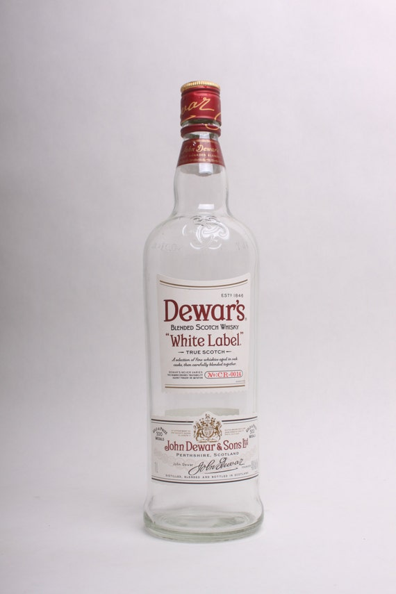 Empty liquor bottle dewar 39 s white label scotch by bddecorative - Uses for empty liquor bottles ...