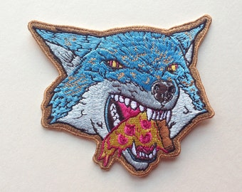 Large Pizza Wolf Embroidered Patch