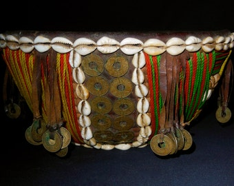 Nigerian Basket Covered With Heavy Thread, Old Coins and Cowrie Shells EXTRAORDINARY!