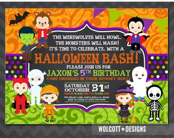 HALLOWEEN Birthday Invitation PRINTABLE Kids Halloween Party - Halloween birthday invitations party