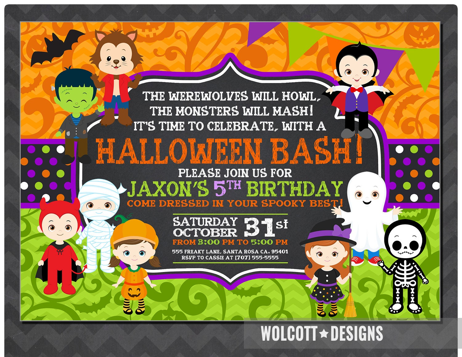 Halloween Birthday Invitation Kids Halloween Party