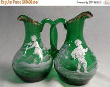 Cabin Fever Sale Green Mary Gregory Style Victorian Glass Pitcher from Bohemia -Matching Pair Bohemian Crystal Pitchers