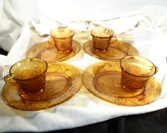 Amber Glass Snack Set-Amber Glass Snack Plate and Cup Set of 4 - Indiana Glass - Sandwich Pattern