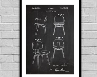 Eames Chair Patent, Eames Chair Poster, Eames Chair Blueprint, Eames Chair Print, Eames Chair Art, Eames Chair Decor, Furniture Decor