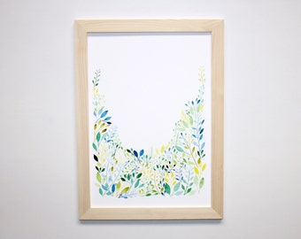Watercolour Leaves Wall Art Print, Botanical Art Print, Hand Painted Vines, Watercolour Artwork
