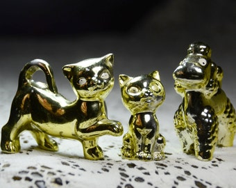 Vintage Cats and Dog Figurines. Cat Figurines. Dog Figurine. Animal Collectible Figurines/Knick Knacks. Gold Taiwan Animals. #60101