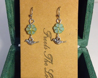 Light/lime green czech glass flower earrings with tiny silver bird charm