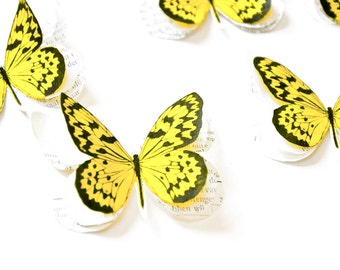 Yellow paper butterflies, garden birthday party decorations, yellow wedding decor, boho wedding decorations, outdoor party decorations