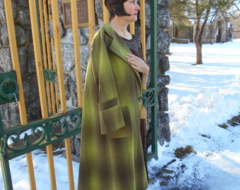 Awesome 1930's Chocolate Brown/Chartuese Wool Coat National Recovery Board Label Never Worn