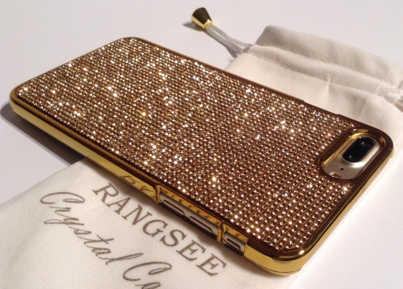 iPhone 8 Plus / iPhone 7 Plus Case Gold Topaz Rhinestone Crystals on Gold Chrome Case. Velvet Pouch Included,