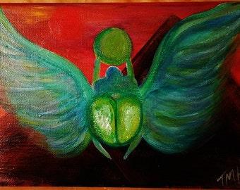 """Acrylic Painting Entitled """"Scarab"""""""