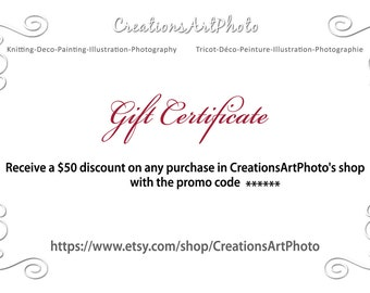 gift certificate for Mother's Day gift idea downloadable printable fifty 50 dollars download