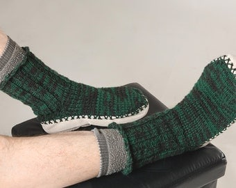 Knitted slippers boots soles man woman adult socks
