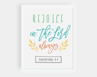 Rejoice In The Lord — Philippians 4:4, Christian Printable, Digital Wall Art, Bible Verse Print, Typography Scripture Print, Biblical Prints