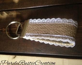 Key Fob Wristlet, Fabric Key Fob, Fabric Keychain,Metallic Key Fob,Key Holder, Key Chain,Fabric Key Holder,Burlap Key Fob,Rustic Wristlet