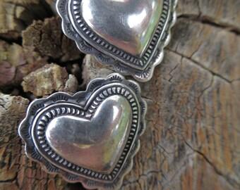 Southwest Navajo Sterling Silver Heart Earrings Native American Hand Stamped Heart Shaped Earrings