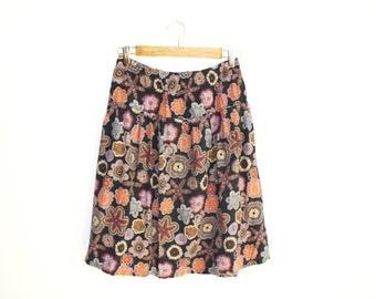 Vintage Skirt, Colorful Skirt, Middle long Skirt, Hippie Skirt, Boho Chic Skirt, Flower Motives