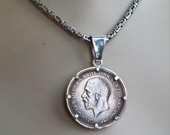 Sterling silver framed 1936 large penny pendant