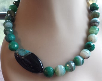 One strand necklace made with faceted green blue onyx