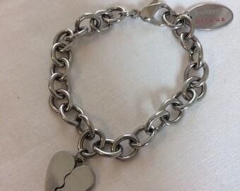 Swatch bracelet, swatch charm bracelet, pink and black swatch jewelry set, stainless steel jewelry set