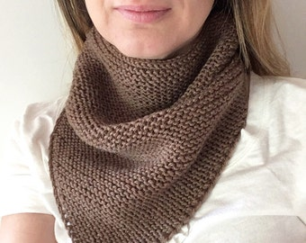 Handknitted triangle tube cowl for adult 100% wool - brown