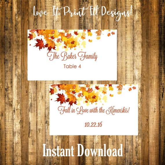 wedding flat place card or favor card diy template fall
