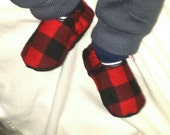 Soft Sole Baby Shoe, Lumberjack - red buffalo plaid baby slippers, loafers, Birthday Party, Halloween costume - boy, girl crib shoes