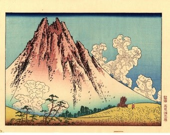 "Japanese Ukiyo-e Woodblock print, Katsushika Hokusai, ""Mt. Fuji seen from Mishima in Koshu"""