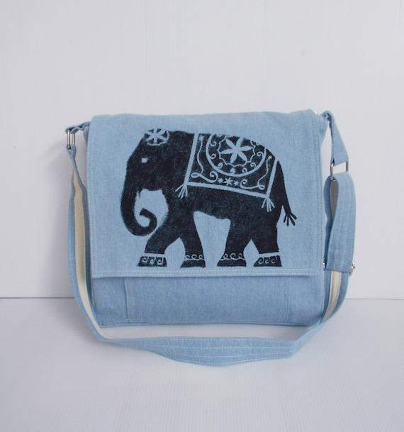 light blue messenger bags elephant bag school by unicraftbag