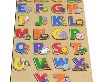 Learn The Alphabet Wood Puzzle for Kids, ABC Puzzle, Alphabet Toy