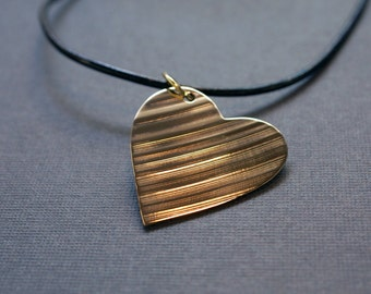 Recycled Drum Cymbal Heart Shaped Pendant Necklace