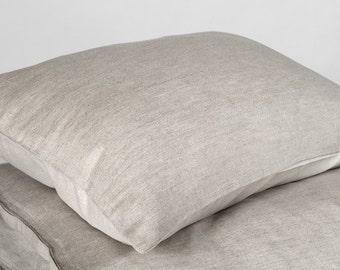 Gray linen pillow case, linen pillows, grey linen, grey pillow covers, linen cotton, linen bedding, natural pillows, organic bedding