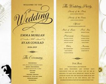 Wedding Ceremony Programs Printed On Gold Metallic Cardstock