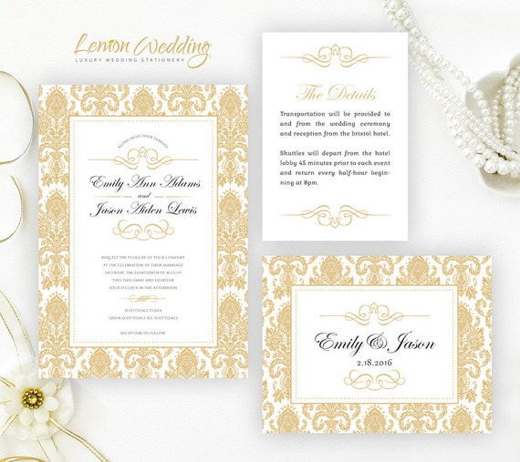 damask wedding invitation kits printed wedding invitations gold