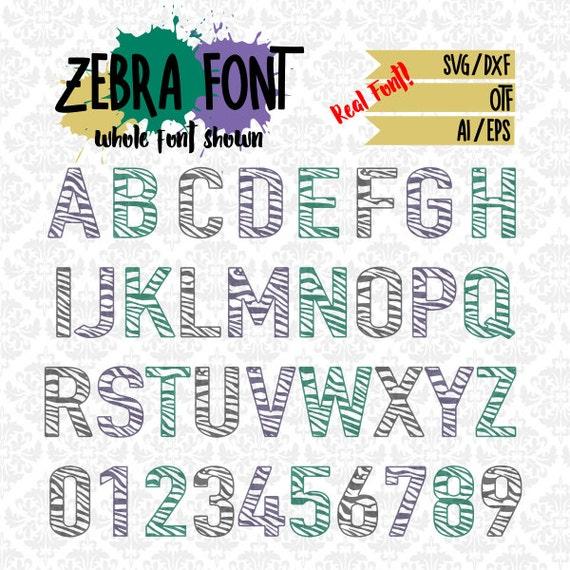 Zebra Print Craft Friendly Font Zebratastic OTF SVG DXF Ai Eps Scalable Vector Instant Download Commercial Cutting File Cricut Silhouette