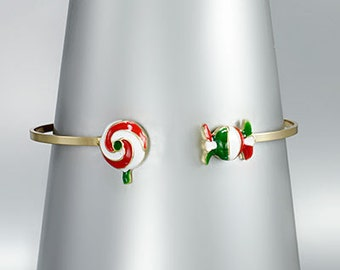 CLEARANCE - Christmas Candy Charm Cuff Bracelet