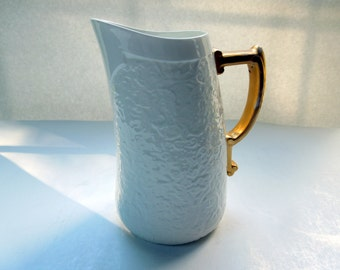 Tiffany Pitcher Jug made by Brownfield White Raised Form Gold Wedding Anniversary Birthday Bridal Shower Christmas Gift
