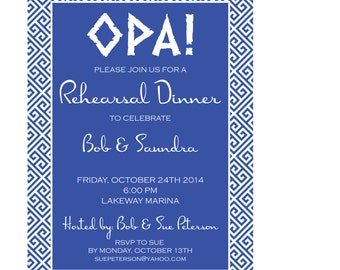 Greek Rehearsal Dinner Invitation